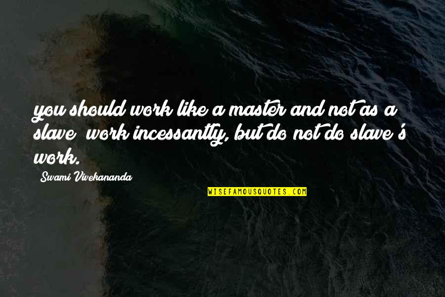 Vivekananda Work Quotes By Swami Vivekananda: you should work like a master and not
