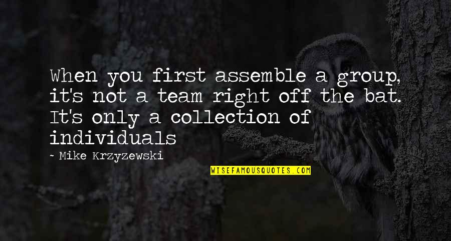 Volleyball Team Quotes By Mike Krzyzewski: When you first assemble a group, it's not