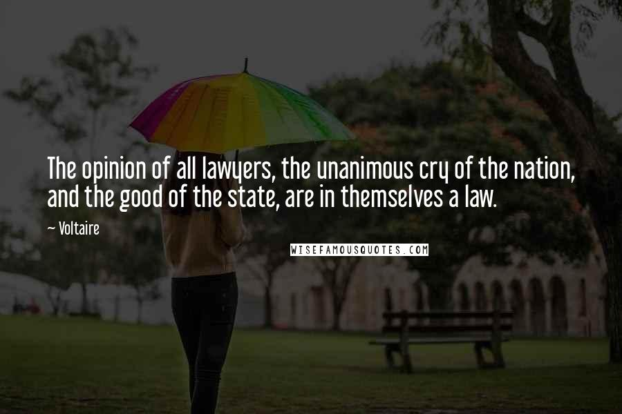 Voltaire quotes: The opinion of all lawyers, the unanimous cry of the nation, and the good of the state, are in themselves a law.