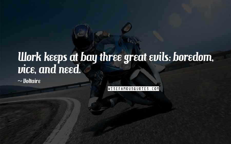 Voltaire quotes: Work keeps at bay three great evils: boredom, vice, and need.