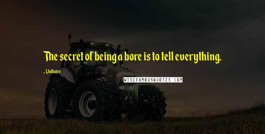 Voltaire quotes: The secret of being a bore is to tell everything.