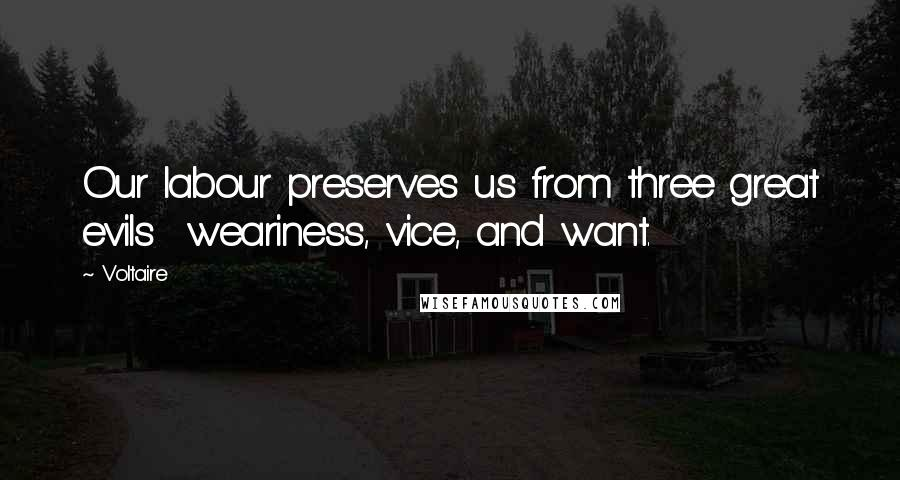 Voltaire quotes: Our labour preserves us from three great evils weariness, vice, and want.