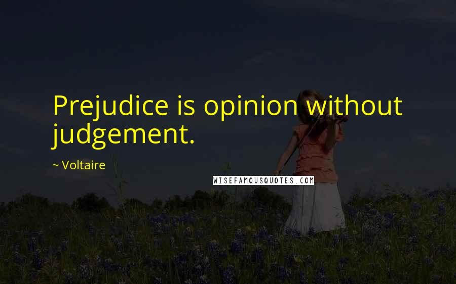 Voltaire quotes: Prejudice is opinion without judgement.