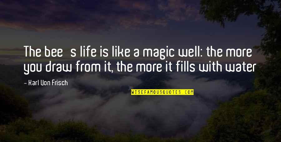 Von Frisch Quotes By Karl Von Frisch: The bee's life is like a magic well: