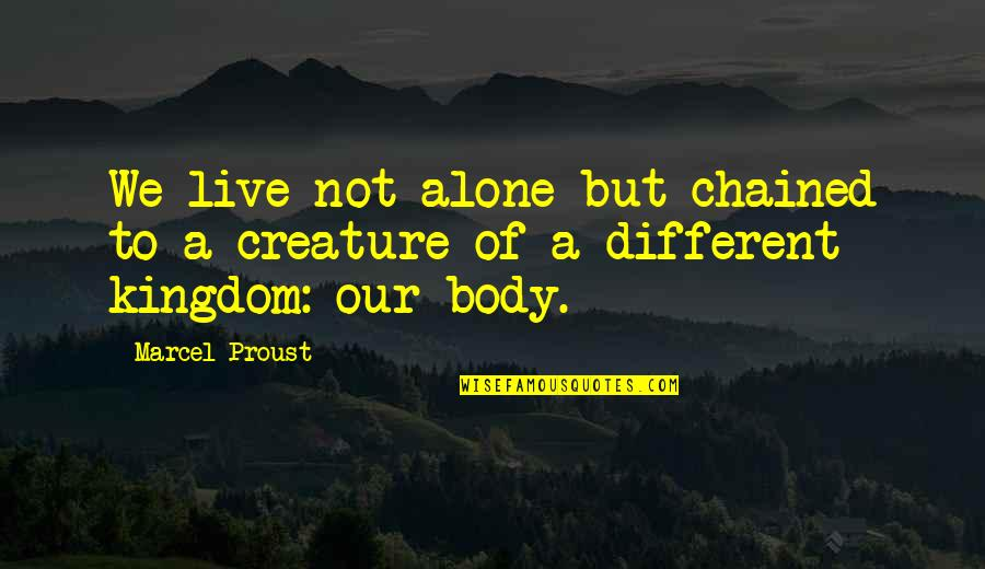 Voyages Of Discovery Quotes By Marcel Proust: We live not alone but chained to a