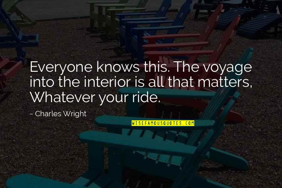 Voyages Quotes By Charles Wright: Everyone knows this. The voyage into the interior