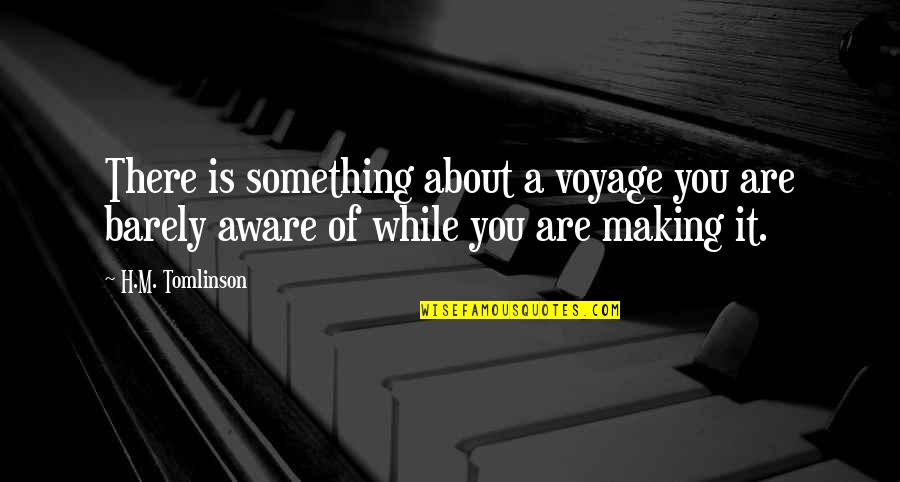 Voyages Quotes By H.M. Tomlinson: There is something about a voyage you are