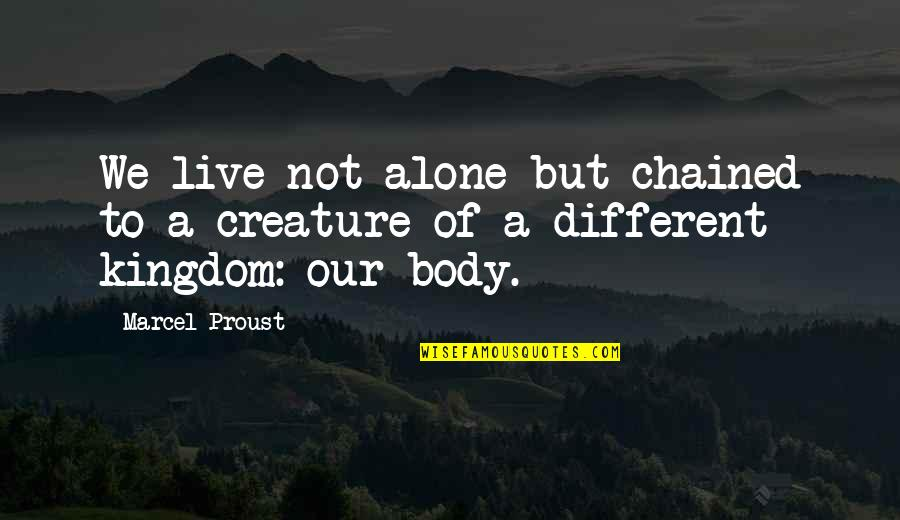 Voyages Quotes By Marcel Proust: We live not alone but chained to a