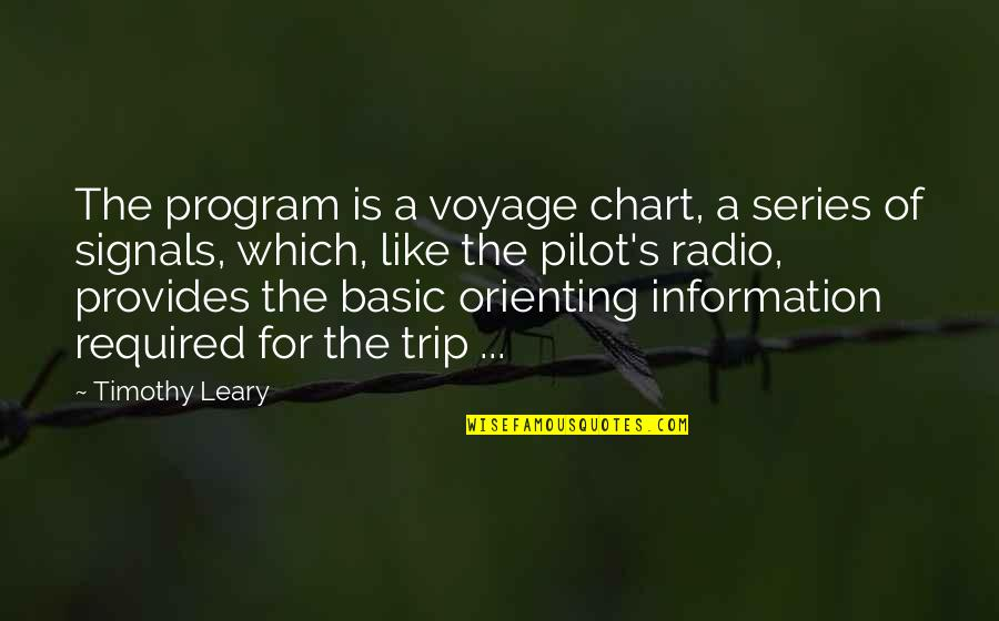 Voyages Quotes By Timothy Leary: The program is a voyage chart, a series