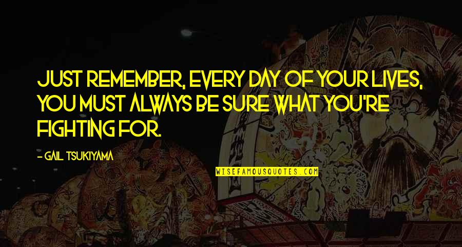 Vrouwelijke Quotes By Gail Tsukiyama: Just remember, Every day of your lives, you