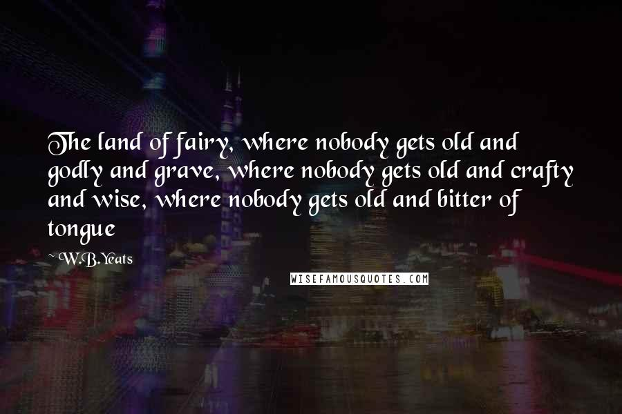 W.B.Yeats quotes: The land of fairy, where nobody gets old and godly and grave, where nobody gets old and crafty and wise, where nobody gets old and bitter of tongue