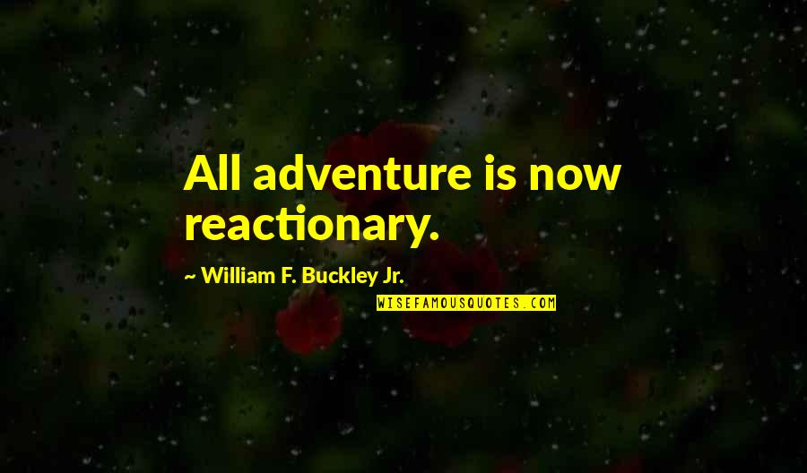 W F Buckley Quotes By William F. Buckley Jr.: All adventure is now reactionary.