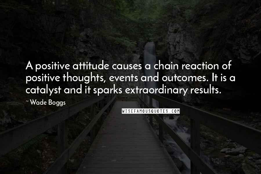 Wade Boggs quotes: A positive attitude causes a chain reaction of positive thoughts, events and outcomes. It is a catalyst and it sparks extraordinary results.
