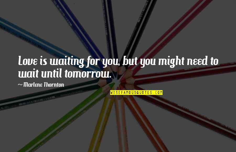 Wait Until Tomorrow Quotes By Marlene Thornton: Love is waiting for you, but you might