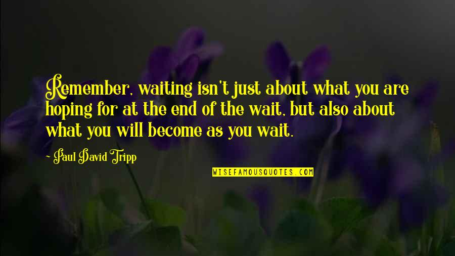 Waiting And Hoping Quotes By Paul David Tripp: Remember, waiting isn't just about what you are