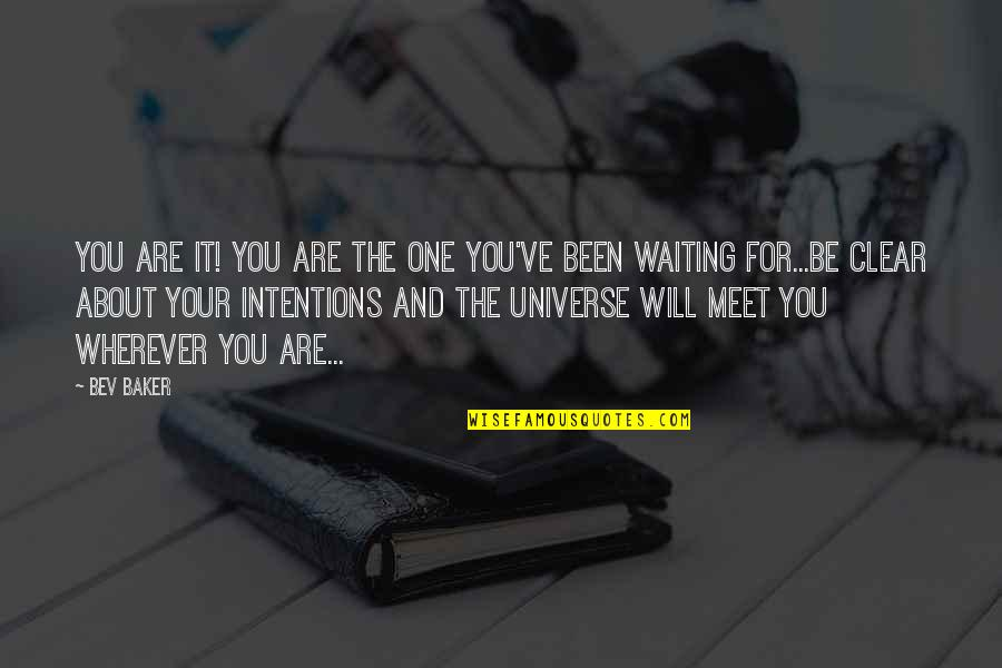 Waiting To Meet You Quotes By Bev Baker: You are it! You are the one you've