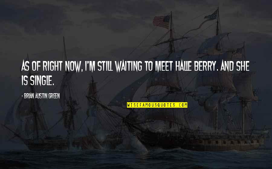 Waiting To Meet You Quotes By Brian Austin Green: As of right now, I'm still waiting to