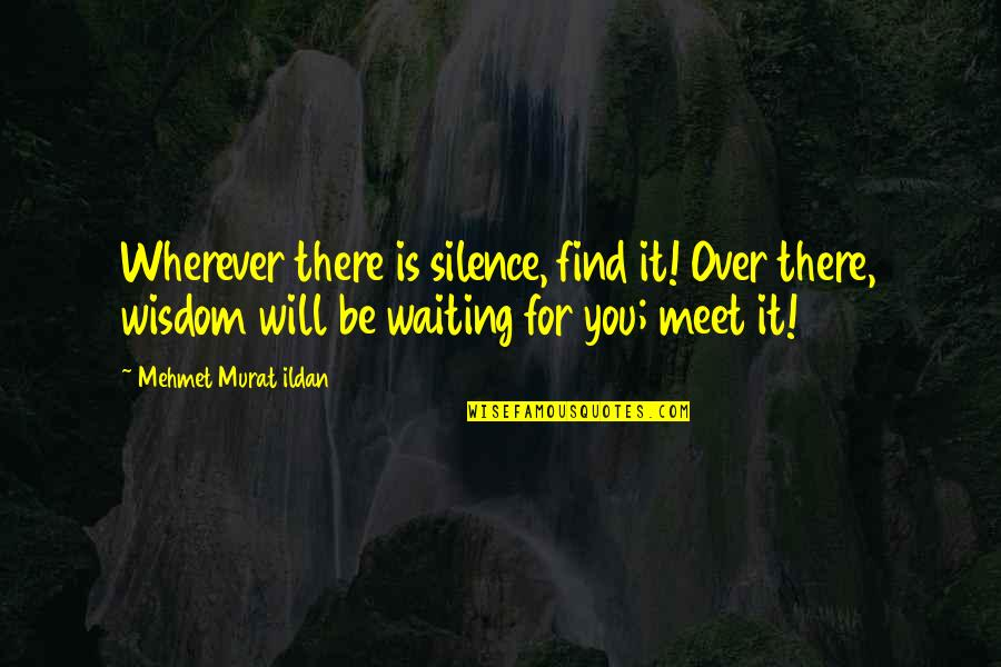 Waiting To Meet You Quotes By Mehmet Murat Ildan: Wherever there is silence, find it! Over there,