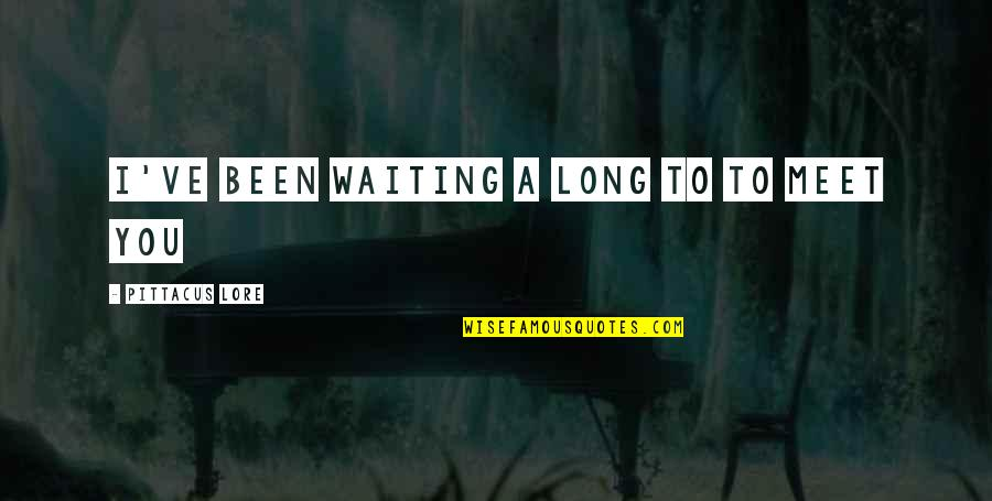 Waiting To Meet You Quotes By Pittacus Lore: I've been waiting a long to to meet