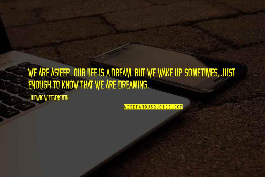 Wake Up From Your Dream Quotes By Ludwig Wittgenstein: We are asleep. Our Life is a dream.