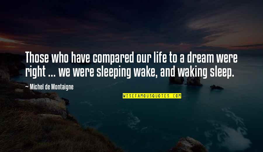 Wake Up From Your Dream Quotes By Michel De Montaigne: Those who have compared our life to a