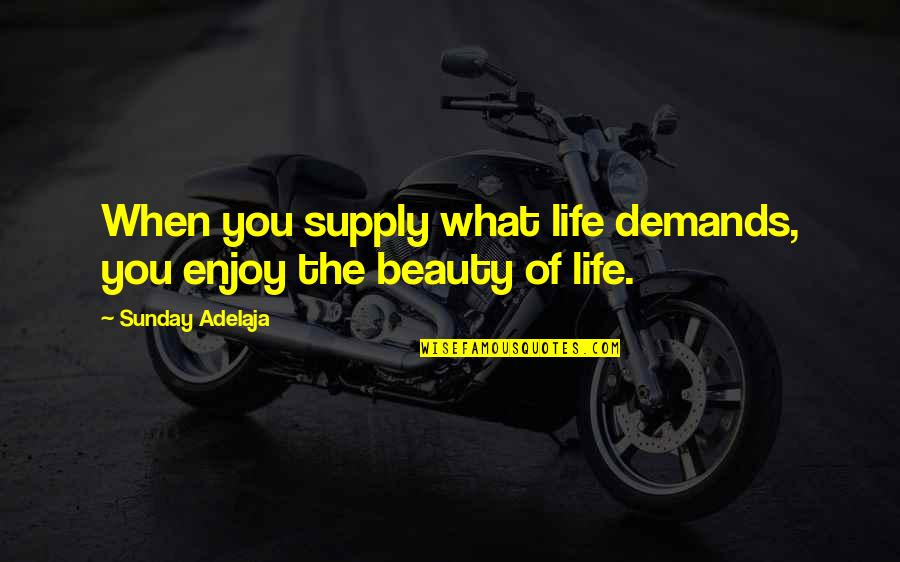 Waking Up Missing You Quotes By Sunday Adelaja: When you supply what life demands, you enjoy