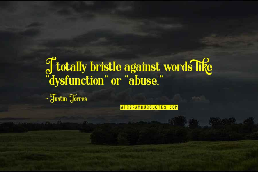 "Wala Akong Pakialam Sa Sasabihin Ng Iba Quotes By Justin Torres: I totally bristle against words like ""dysfunction"" or"