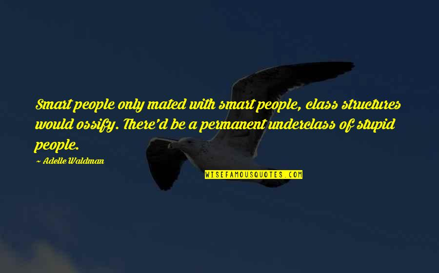 Waldman Quotes By Adelle Waldman: Smart people only mated with smart people, class