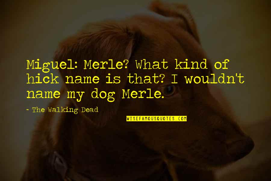 Walking With My Dog Quotes By The Walking Dead: Miguel: Merle? What kind of hick name is