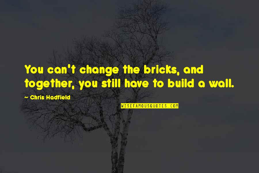 Wall Build Up Quotes By Chris Hadfield: You can't change the bricks, and together, you