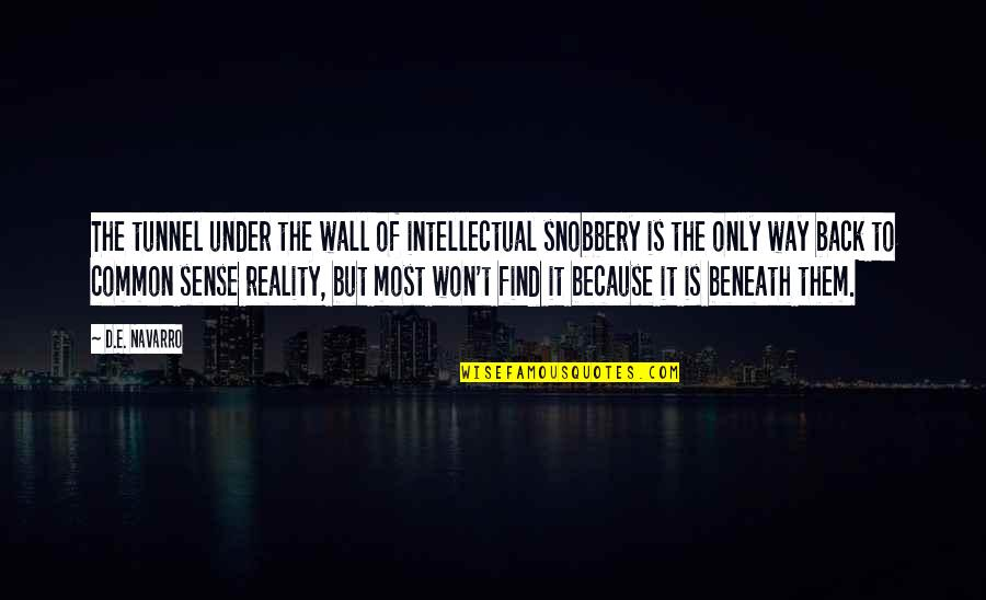 Wall-e Quotes By D.E. Navarro: The tunnel under the wall of intellectual snobbery