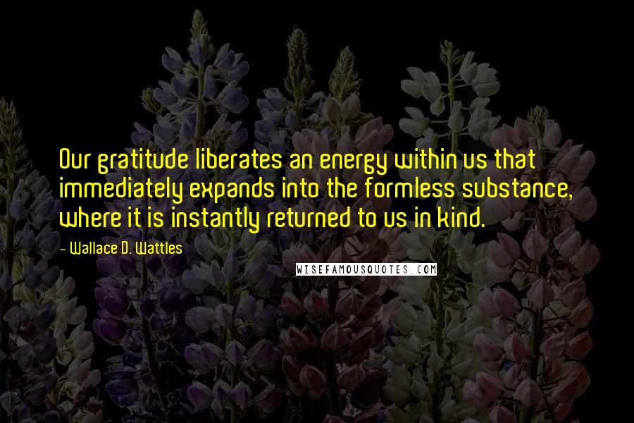 Wallace D. Wattles quotes: Our gratitude liberates an energy within us that immediately expands into the formless substance, where it is instantly returned to us in kind.
