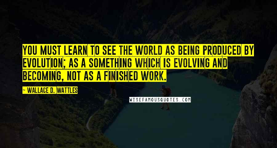 Wallace D. Wattles quotes: You must learn to see the world as being produced by evolution; as a something which is evolving and becoming, not as a finished work.