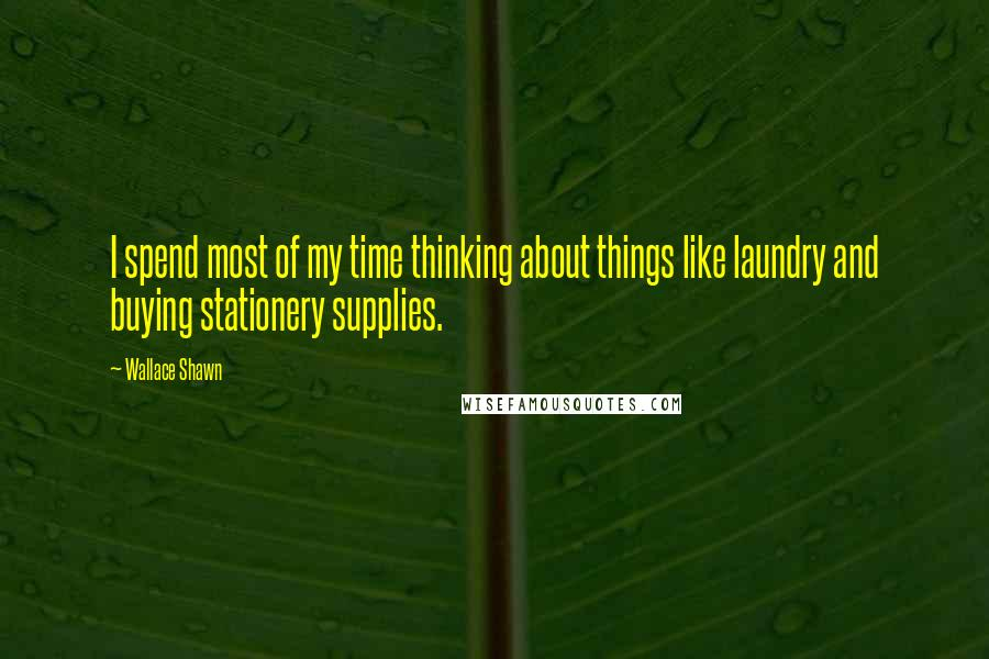 Wallace Shawn quotes: I spend most of my time thinking about things like laundry and buying stationery supplies.