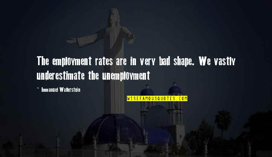 Wallerstein Quotes By Immanuel Wallerstein: The employment rates are in very bad shape.