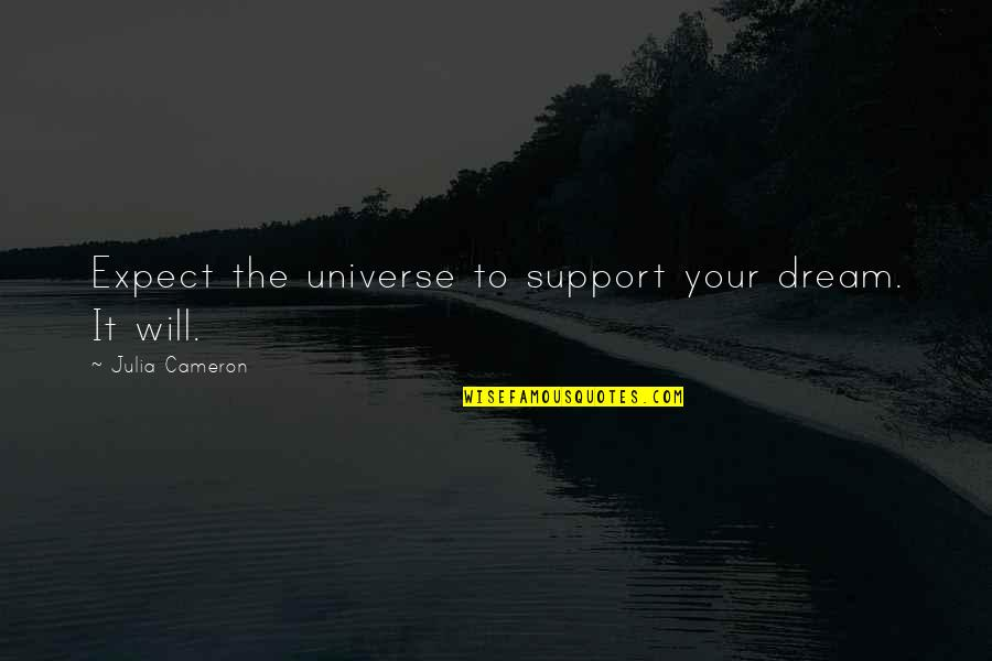 Walls Being Put Up Quotes By Julia Cameron: Expect the universe to support your dream. It