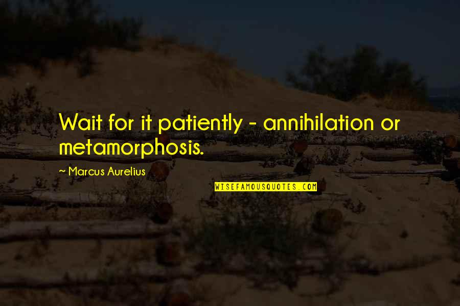 Walls Being Put Up Quotes By Marcus Aurelius: Wait for it patiently - annihilation or metamorphosis.