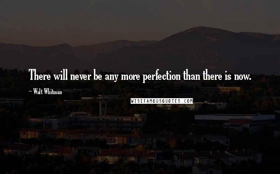 Walt Whitman quotes: There will never be any more perfection than there is now.