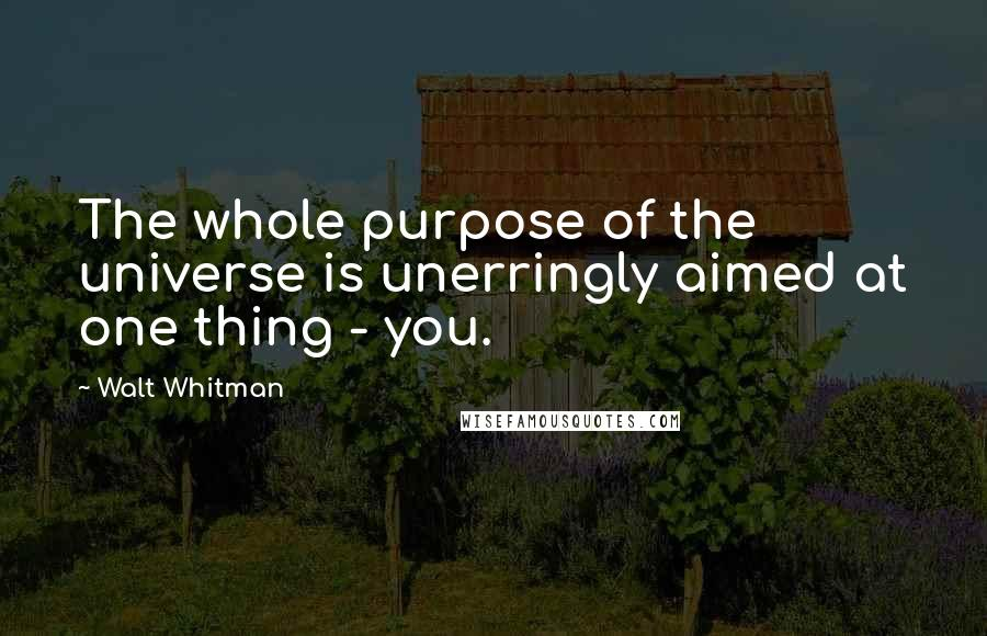 Walt Whitman quotes: The whole purpose of the universe is unerringly aimed at one thing - you.