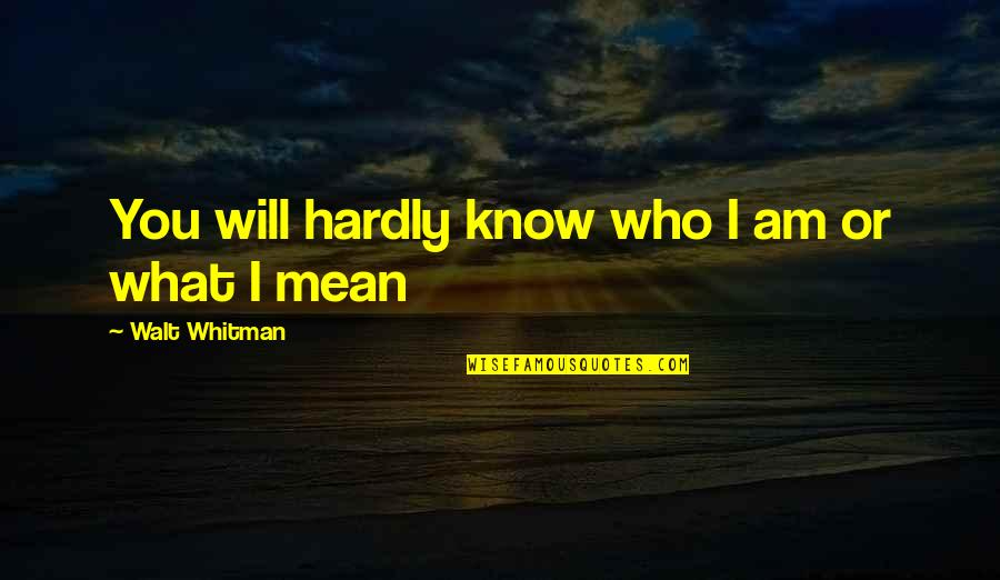 Walt Whitman Quotes By Walt Whitman: You will hardly know who I am or