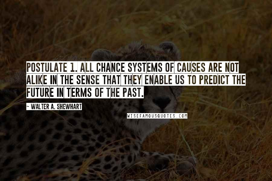 Walter A. Shewhart quotes: Postulate 1. All chance systems of causes are not alike in the sense that they enable us to predict the future in terms of the past.