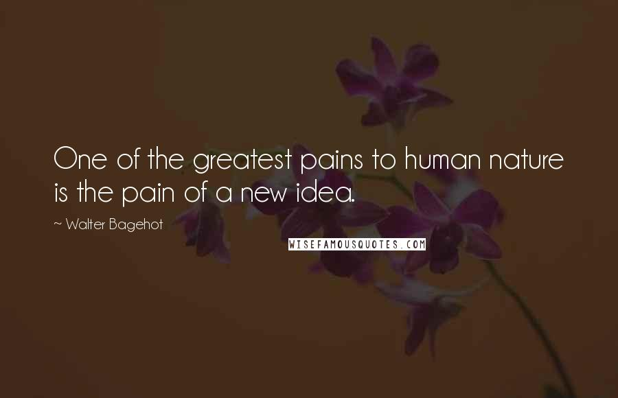 Walter Bagehot quotes: One of the greatest pains to human nature is the pain of a new idea.