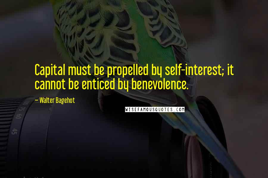 Walter Bagehot quotes: Capital must be propelled by self-interest; it cannot be enticed by benevolence.