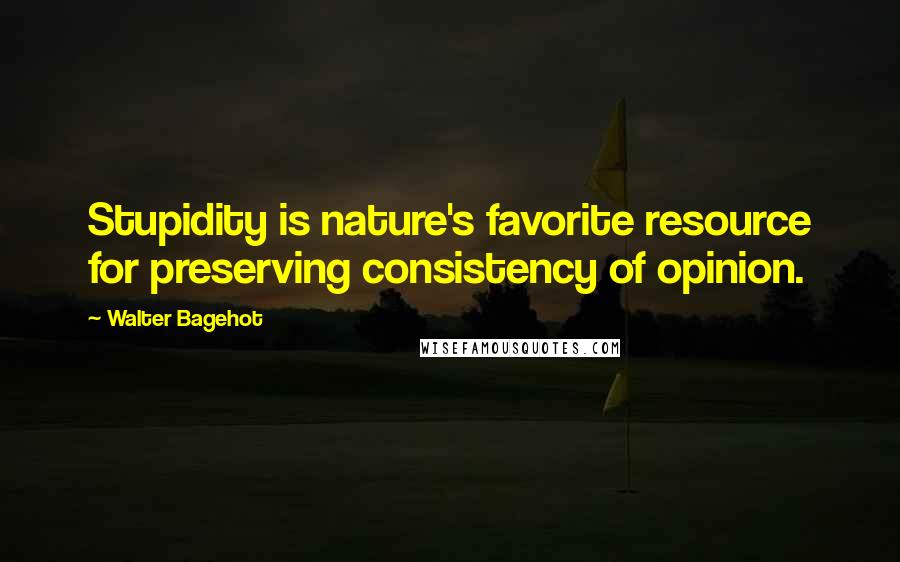 Walter Bagehot quotes: Stupidity is nature's favorite resource for preserving consistency of opinion.