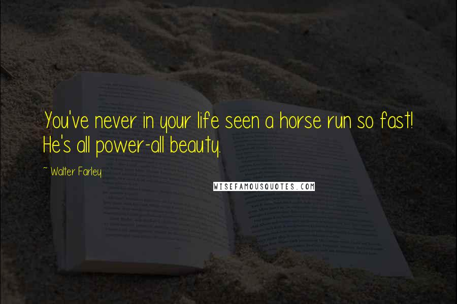 Walter Farley quotes: You've never in your life seen a horse run so fast! He's all power-all beauty.