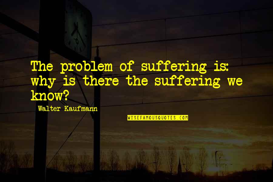 Walter Kaufmann Quotes By Walter Kaufmann: The problem of suffering is: why is there