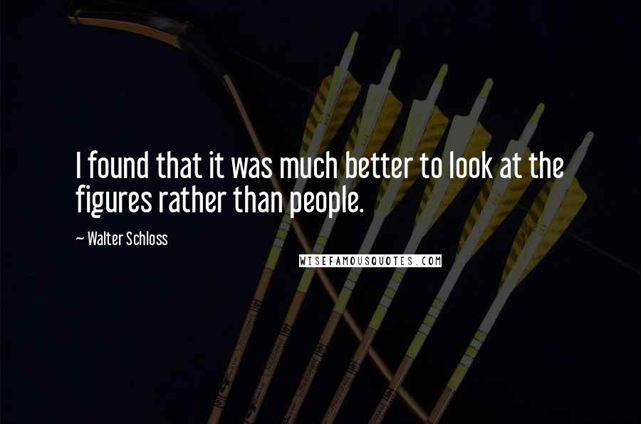 Walter Schloss quotes: I found that it was much better to look at the figures rather than people.