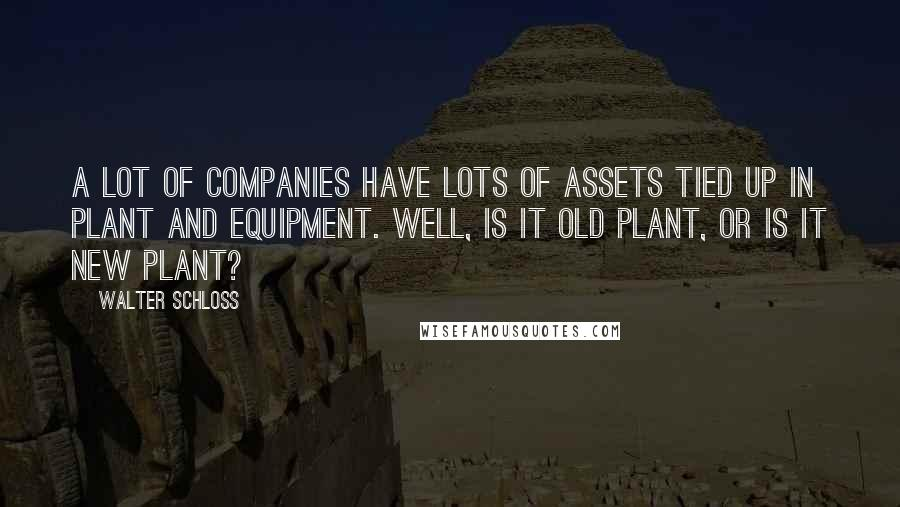 Walter Schloss quotes: A lot of companies have lots of assets tied up in plant and equipment. Well, is it old plant, or is it new plant?