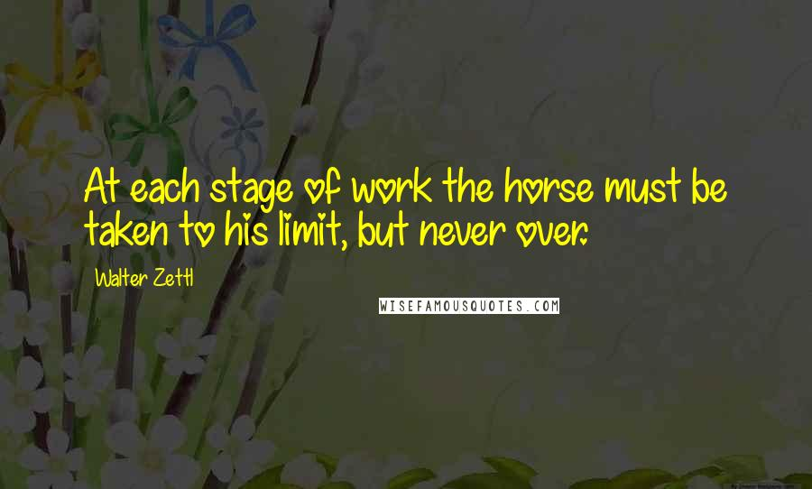 Walter Zettl quotes: At each stage of work the horse must be taken to his limit, but never over.
