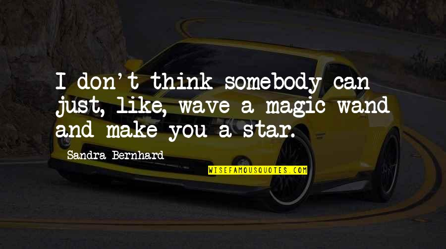 Wand'ring Quotes By Sandra Bernhard: I don't think somebody can just, like, wave